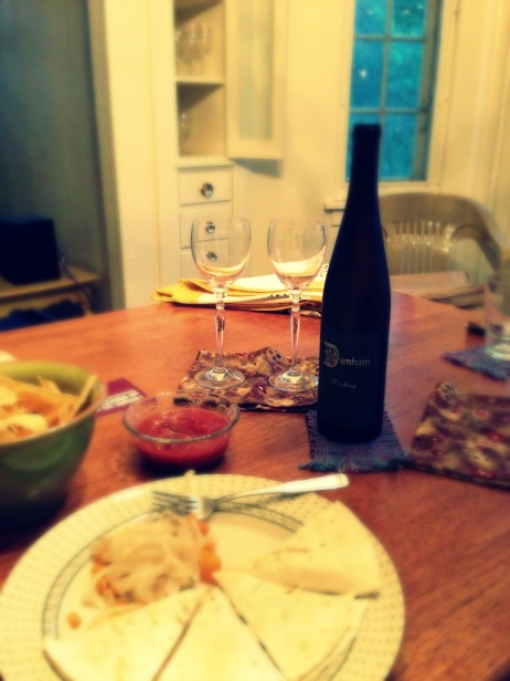 quesadillas and riesling